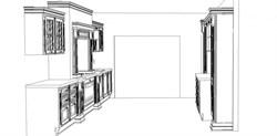 Линейная кухня в два ряда - фото 4987